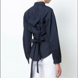 New 10 Crosby Derek Lam Laced-up Back Blouse navy